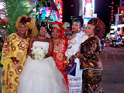 Headdresses Photos - Times Square Wedding Party by Ed Weidman