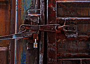 Rusted Cars Framed Prints - Timeworn Train Latch Framed Print by Suzanne Stout
