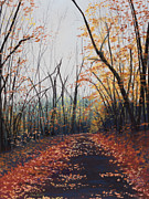 Autumn Prints Pastels Posters - Timms Hill Twilight Poster by Sue Lewis