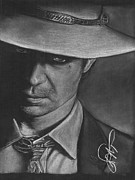 Charcoal Portrait Posters - Timothy Olyphant 2 Poster by Rosalinda Markle