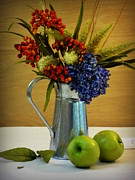 Silver Pitcher Posters - Tin Bouquet and Green Apples Poster by Deborah  Crew-Johnson