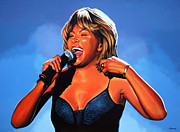Portrait With Mountain Prints - Tina Turner 2 Print by Paul  Meijering