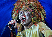 Female Musicians Painting Originals - Tina Turner by Merv Scoble