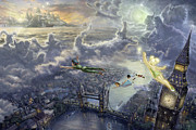Fairies Posters - Tinker Bell and Peter Pan Fly to Neverland Poster by Thomas Kinkade