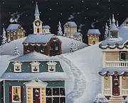 Winter Scene Paintings - Tinsel Town Christmas by Catherine Holman