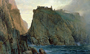 Castle Paintings - Tintagel On The Cornish Coast by W T Richards