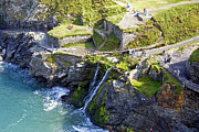Uther Pendragon Prints - Tintagel waterfalls Print by Rod Jones