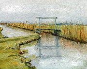 Netherlands Paintings - Tiny Bridge Netherlands by Nancy Van den Boom