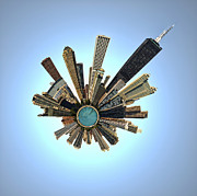 Photomanipulation Photo Posters - Tiny Chicago Poster by Andrew Paranavitana