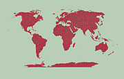 Valentines Day Digital Art - Tiny Red Hearts World Map by Daniel Hagerman