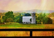 Wine Country. Mixed Media Framed Prints - Tiny Silo Framed Print by Jill Jacobs