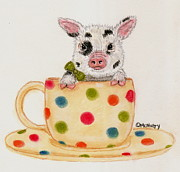 Pig Pastels Framed Prints - Tiny the Teacup Pig Framed Print by Cheryl McNulty