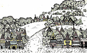 Mountain Scene Drawings Prints - Tiny Town Print by Ruth Brown