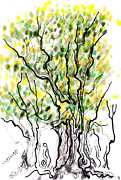 Abstracted Drawings Prints - Tiny treeish notions Print by Regina Valluzzi