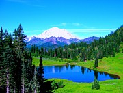 Deer Camp Prints - Tipsoo Lake Mount Rainier Print by Ann Johndro-Collins