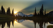 National Photo Framed Prints - Tipsoo Rainier Sunstar Framed Print by Mike Reid