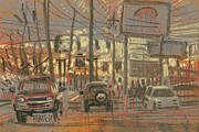 Commercial Pastels Prints - Tire Service Print by Donald Maier