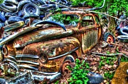 Rusted Cars Framed Prints - Tired- Auto Personalities #8 Framed Print by Dan Stone