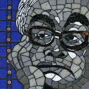 Mosaic Portrait Glass Art - Tireless and Tired Patriot  by Gila Rayberg