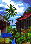 Coconut Palm Tree Posters - Tiririca Beach Shacks Poster by Douglas Simonson