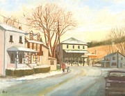 Streetscape Paintings - Tis the season in Liberty by Bibi Snelderwaard Brion