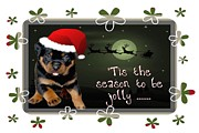 Puppies Digital Art - Tis The Season To Be Jolly Holiday Greetings by Tracey Harrington-Simpson