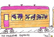 Caboose Drawings - Tis Valentine Express by Tis Art