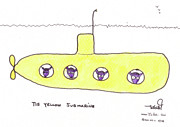 Humour Drawings Prints - Tis Yellow Submarine Print by Tis Art