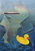 Liner Paintings - Titanic and the Ducky by Jeff Seaberg