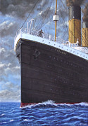 Famous Ship Painting Posters - Titanic at sea full speed ahead Poster by Martin Davey