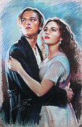Jack Drawings Posters - Titanic Jack and Rose Poster by Viola El