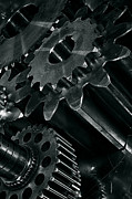 Stainless Steel Prints - Titanium And Steel Gears Print by Christian Lagereek