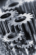 Gears Wheel Framed Prints - Titanium Gears And Cogs Framed Print by Christian Lagereek