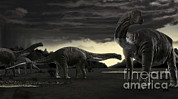 Titanosaurs In The First Storm Print by Rodolfo Nogueira