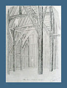 Mediaeval Drawings Posters - Tithe Barn Poster by Rod Jones