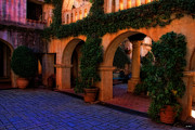 Tlaquepaque Sedona Digital Art Posters - Tlaquepaque courtyard Poster by Jon Burch Photography