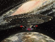 Enterprise Painting Prints - To Boldly Go... Print by Tim Loughner
