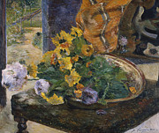 Green Yellow Paintings - To Make a Bouquet by Paul Gaugin