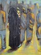 Woman In Black Dress Paintings - To shopping with Mom by Usha Shantharam
