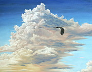 Storm Prints Painting Prints - To Soar On Clouds Print by Linda Rous