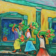 Mayan Painting Framed Prints - To the Morning Market Framed Print by Xueling Zou