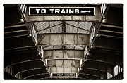 New To Vintage Prints - To Trains Print by John Rizzuto
