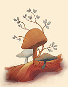 Toadstools Digital Art Framed Prints - Toadstools Framed Print by Naomi VanDoren