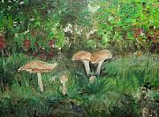Toadstools Painting Originals - Toadstools on Display by Brenda Mullaney