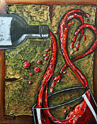 Wine Pouring Sculpture Framed Prints - Toast To Love Framed Print by Mariana Pittman