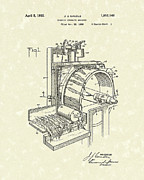 Machinery Drawings Framed Prints - Tobacco Machine 1932 Patent Art Framed Print by Prior Art Design