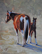 Tri Color Horse Paintings - Tobiano Times Two by Bonnie Cazier