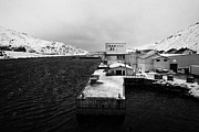 Norwegian Fishing Village Prints - Tobo Fisk Fish Processing Plant And Pier Harbour Havoysund Finnmark Norway Europe Print by Joe Fox