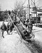 Slide Prints - Toboggan Slide Print by Underwood Archives