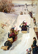 Snow Scene Framed Prints - Tobogganing 1886 Framed Print by HY Sandham